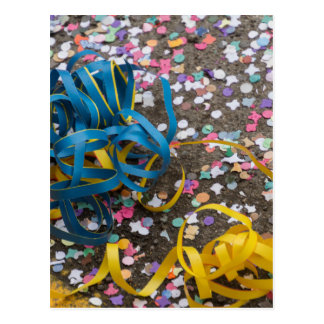 confetti and streamers at carnival postcard