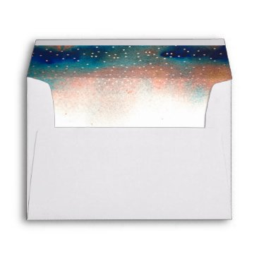 Beach Themed Confetti and Watercolor Modern Splashes Wedding Envelope