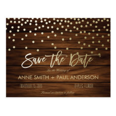 Confetti And Wood Save The Date Postcard at Zazzle