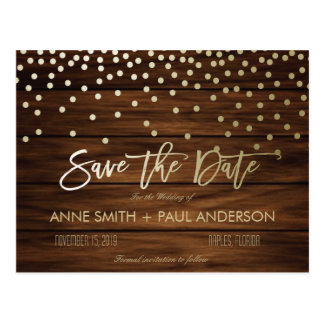 Confetti and wood Save the Date Postcard