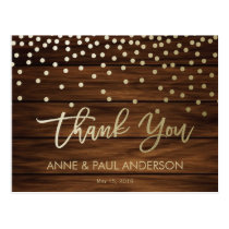 Confetti and wood Thank You Card