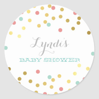 CONFETTI BABY SHOWER cute gold foil coral mint Classic Round Sticker