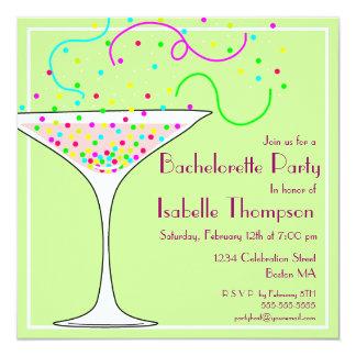 """Confetti Bachelorette Party Invitation 5.25"""" Square Invitation Card"""