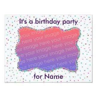 Confetti Birthday Party Photo Invitations