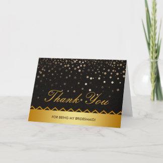 Confetti Black Gold Glitter Bridesmaid Thank You