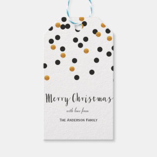 Confetti black & gold Merry Christmas gift tags