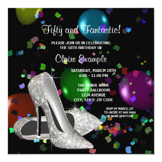 Confetti Black High Heels Womans Birthday Party Announcements