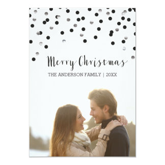 Confetti black & silver Merry Christmas Card
