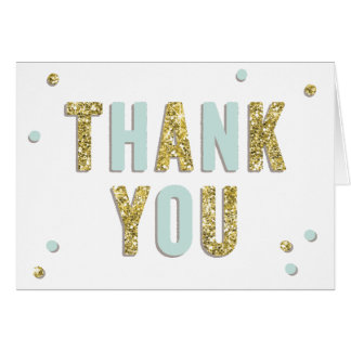 Confetti Bling Blue Gold Baby Shower Thank You Card