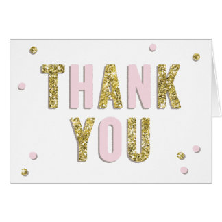 Confetti Bling Pink Gold Baby Shower Thank You Card