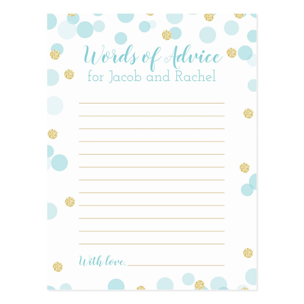 Confetti Blue and Gold Baby Shower Words of Advice Postcard