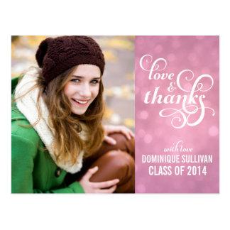 Confetti Bokeh Graduation Photo Thank You Postcard