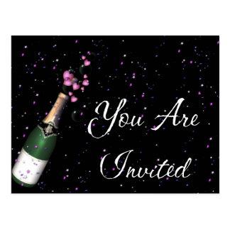 Confetti, Bottle of Champagne Invitation Postcard