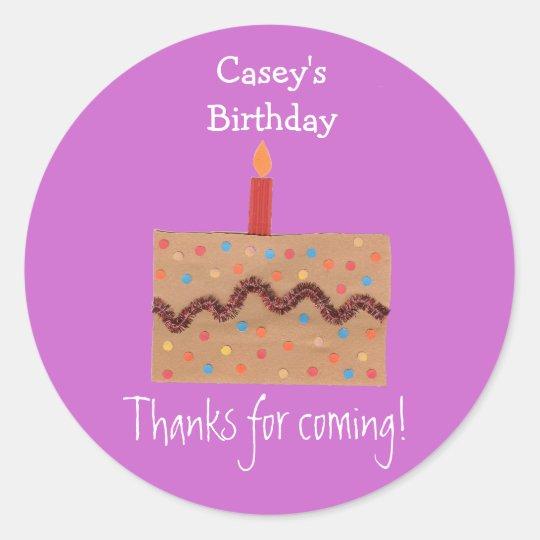 Confetti cake birthday favor label - pink