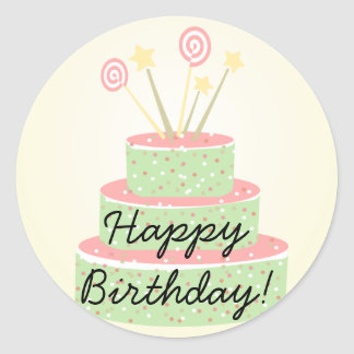 Confetti Cake • Green Birthday Cake Classic Round Sticker