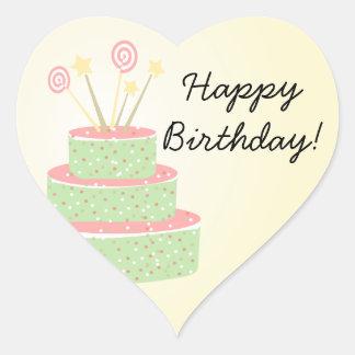 Confetti Cake • Green Birthday Cake Heart Sticker
