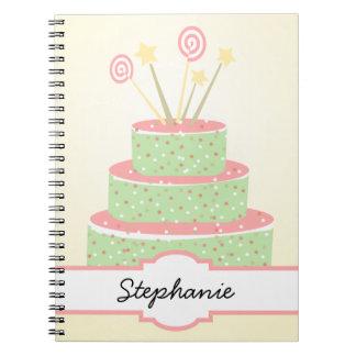 Confetti Cake • Green Birthday Cake Notebook