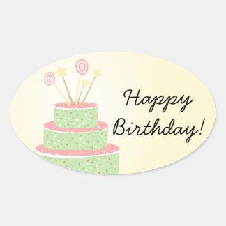 Confetti Cake • Green Birthday Cake Oval Sticker
