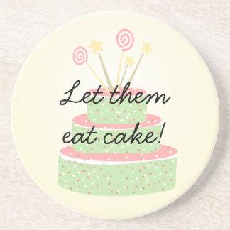 Confetti Cake • Green Birthday Cake Sandstone Coaster