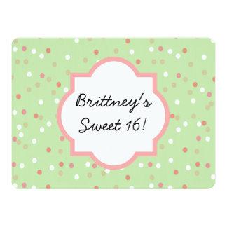 """Confetti Cake • Green Buttercream Frosting 6.5"""" X 8.75"""" Invitation Card"""