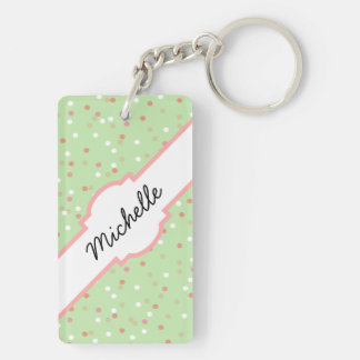 Confetti Cake • Green Buttercream Frosting Rectangle Acrylic Key Chains