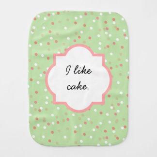 Confetti Cake • Green Buttercream Frosting Baby Burp Cloth