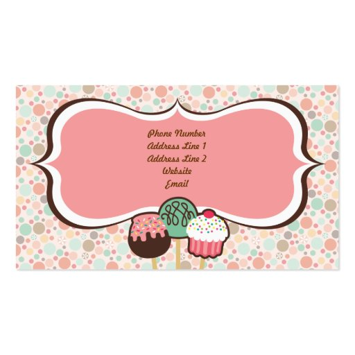 Confetti Cake Pops Business Cards (back side)