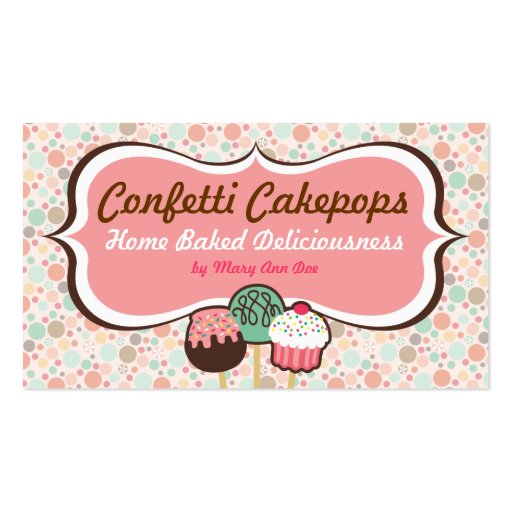 Confetti Cake Pops Business Cards (front side)