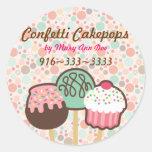 Confetti Cake Pops Stickers Labels