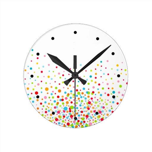 Confetti Celebration - multicolor Round Wall Clocks