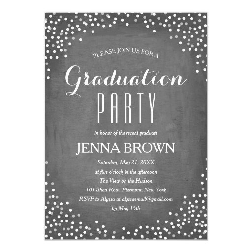 Confetti Chalkboard Graduation Party Invitation