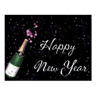 Confetti Champagne Bottle Happy New Year Postcard