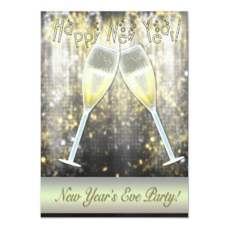 Confetti Champagne New Years Eve Party Invitations