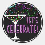 Confetti Cocktail Celebration Round Sticker