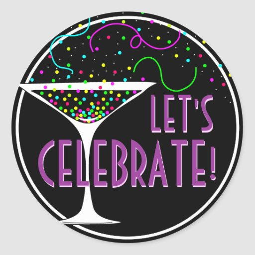 Confetti Cocktail Celebration Round Sticker