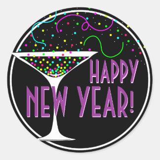 Confetti Cocktail Happy New Year Round Sticker