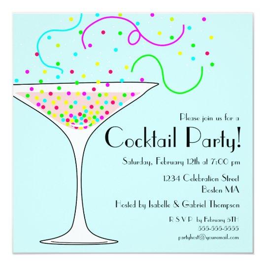 Confetti Cocktail Party Invitation Zazzle Com