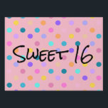 "Confetti colors polka dots yard sign<br><div class=""desc"">Let the whole street know you are celebrating a sweet 16 party,  or any other party. Customize the text and the colors.</div>"