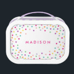 """Confetti Cutie   Personalized Lunch Box<br><div class=""""desc"""">Lunch time is even sweeter with a customized Lunch Box made specially for them! Easily customize the Text, Font, Font Color and Background color! To customize your lunch box, simply click on the &quot;Customize it&quot; button and select your background color from the swatches or select the font icon to change...</div>"""