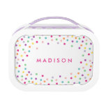 Confetti Cutie   Personalized Lunch Box<br><div class='desc'>Lunch time is even sweeter with a customized Lunch Box made specially for them! Easily customize the Text, Font, Font Color and Background color! To customize your lunch box, simply click on the &quot;Customize it&quot; button and select your background color from the swatches or select the font icon to change...</div>