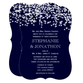 Confetti Deep Navy Stars Wedding Invitation