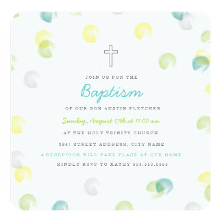 Confetti Dot Baptism Invitation