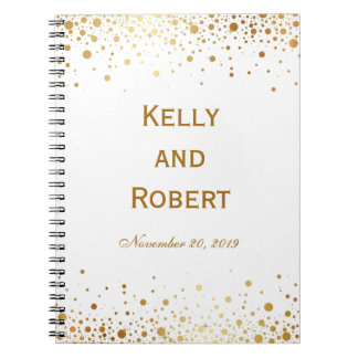 Confetti Dots Elegant Custom Wedding Guest Book