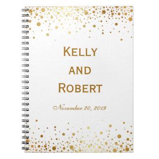 Confetti Dots Elegant Custom Wedding Guest Book Spiral Notebook