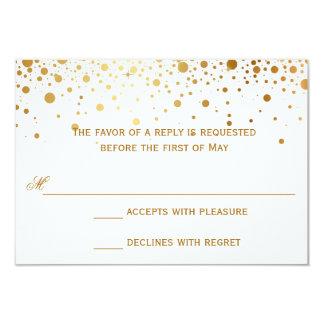Confetti Dots Elegant Gold Wedding Response Cards