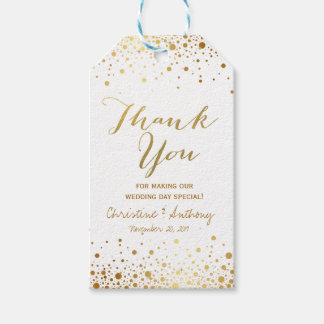 Confetti Dots Elegant Wedding Thank You Favor Tags