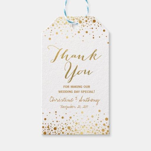 Wedding Favor Tags Thank You Wording : Confetti Dots Elegant Wedding Thank You Favor Tags Zazzle