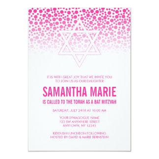 Confetti Dots Hot Pink Bat Mitzvah Invitations
