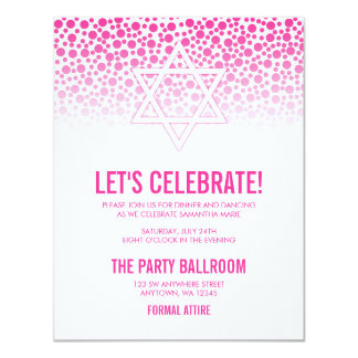 Confetti Dots Hot Pink Bat Mitzvah Reception Card