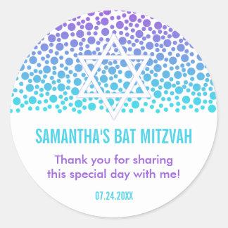 Confetti Dots Purple Teal Bat Mitzvah Favor Classic Round Sticker